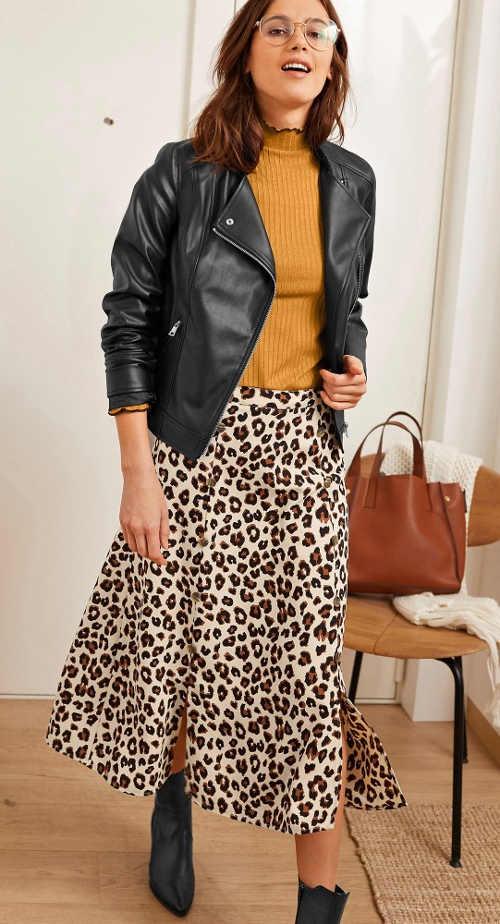 Dlouhá propínací dámská sukně s leopardím potiskem
