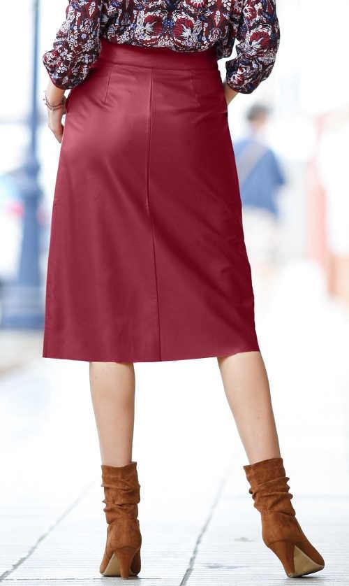 Fialová kožená dámská sukně