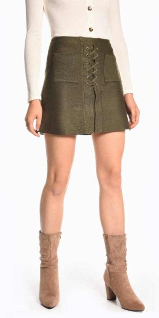 Krátká áčková khaki sukně se šněrováním a kapsami