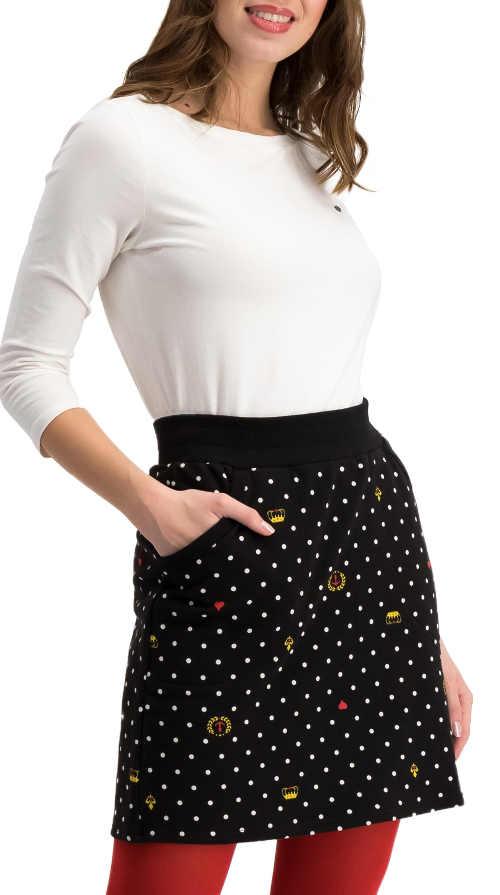 Krátká černá puntíkovaná sukně na legíny