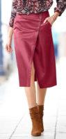 Pouzdrová kožená sukně zavinovacího střihu