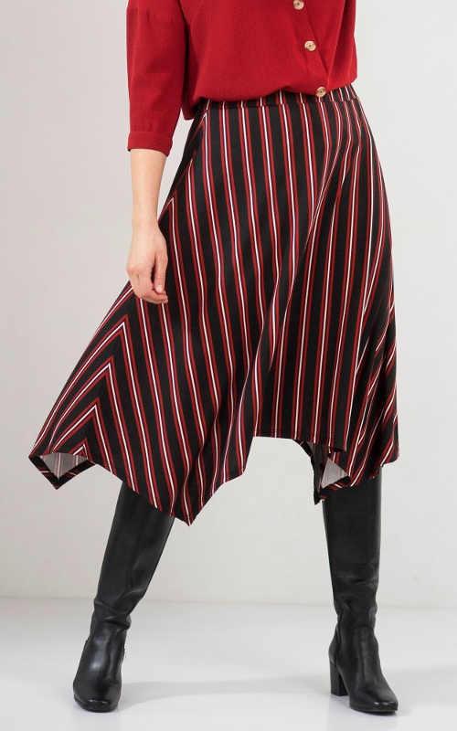 Pruhovaná cípová asymetrická dámská sukně