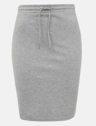 Šedá úpletová pouzdrová sukně se stahovací šňůrkou v pase