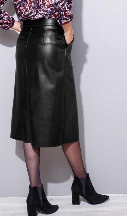 Sukně kožený vzhled s délkou pod kolena