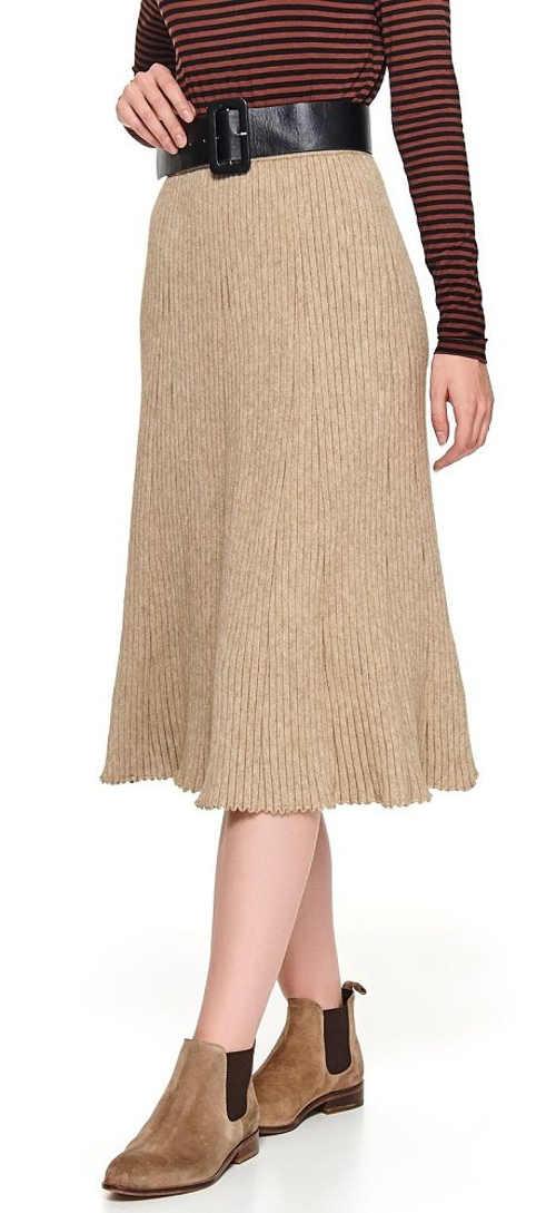 Teplá dámská sukně béžové barvy