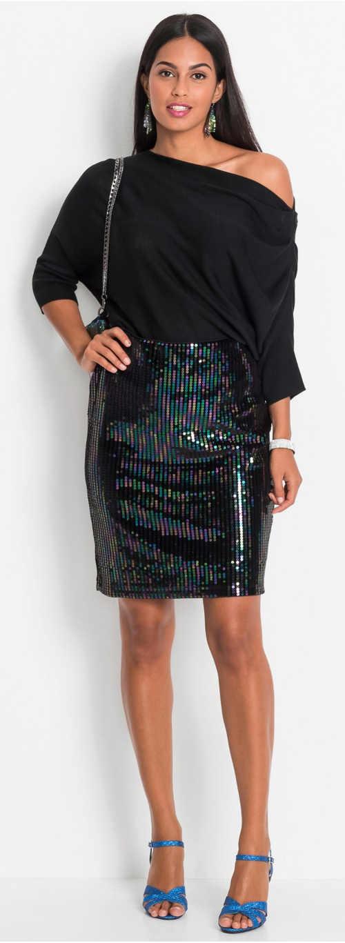 Třpytivá společenská sukně nad kolena