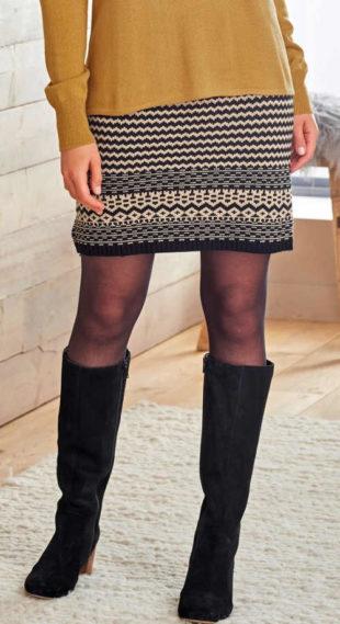 Úpletová zimní sukně s pruhy