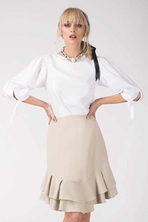 Volánová společenská sukně s délkou ke kolenům