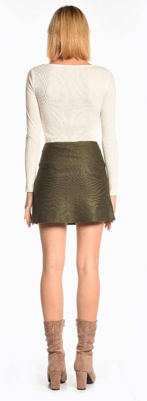 Zeleno-hnědá krátká dámská sukně