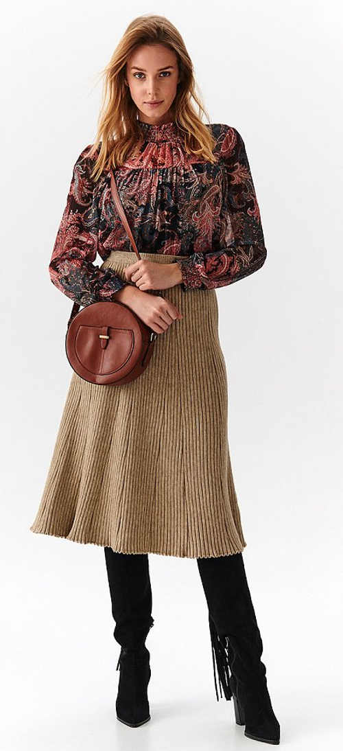 Zimní hřejivá midi sukně