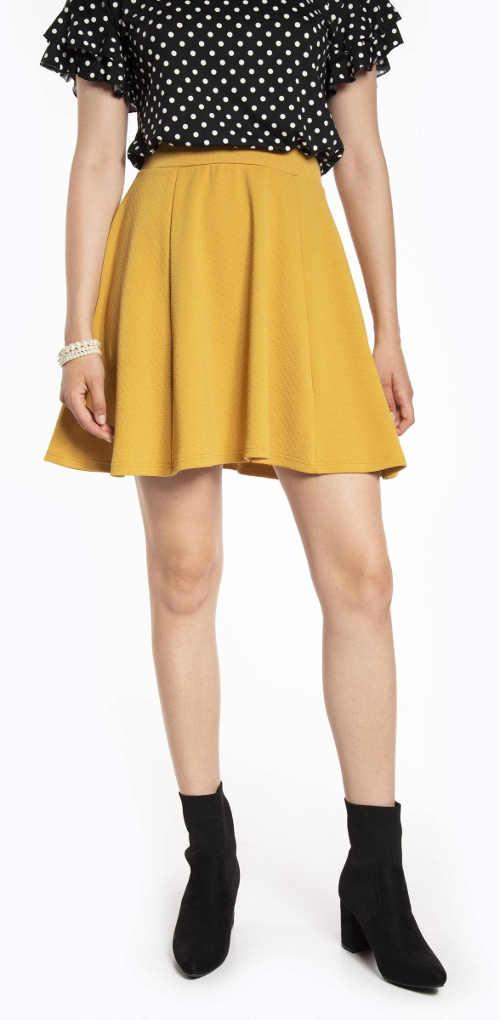 Žlutá letní áčková skater sukně