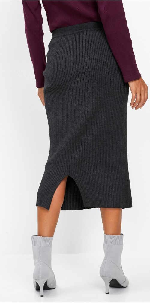 Antracitová pletená zimní sukně