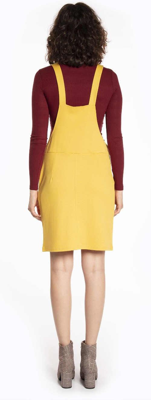 Jednobarevné žluté dámské šaty s laclem