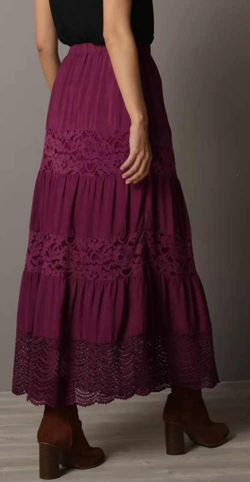 Krajková dámská sukně maxi délky