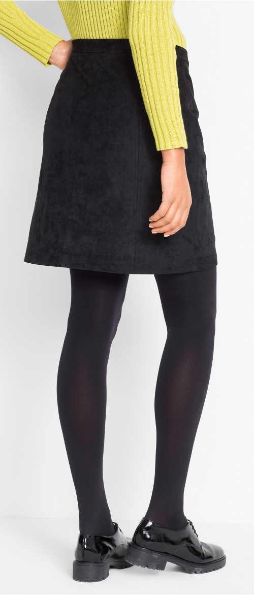 Krátká černá semišová dámská sukně
