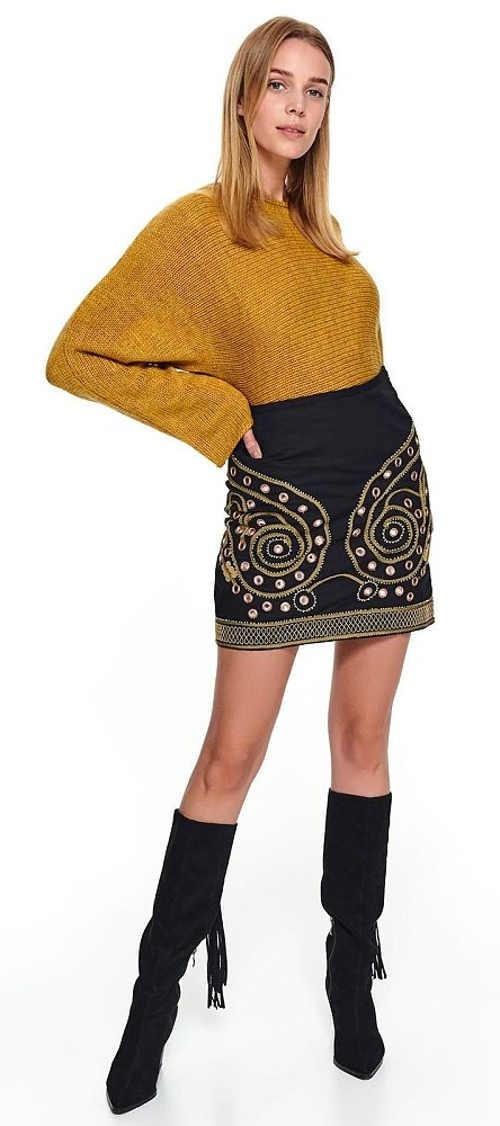 Krátká černá vyšívaná sukně