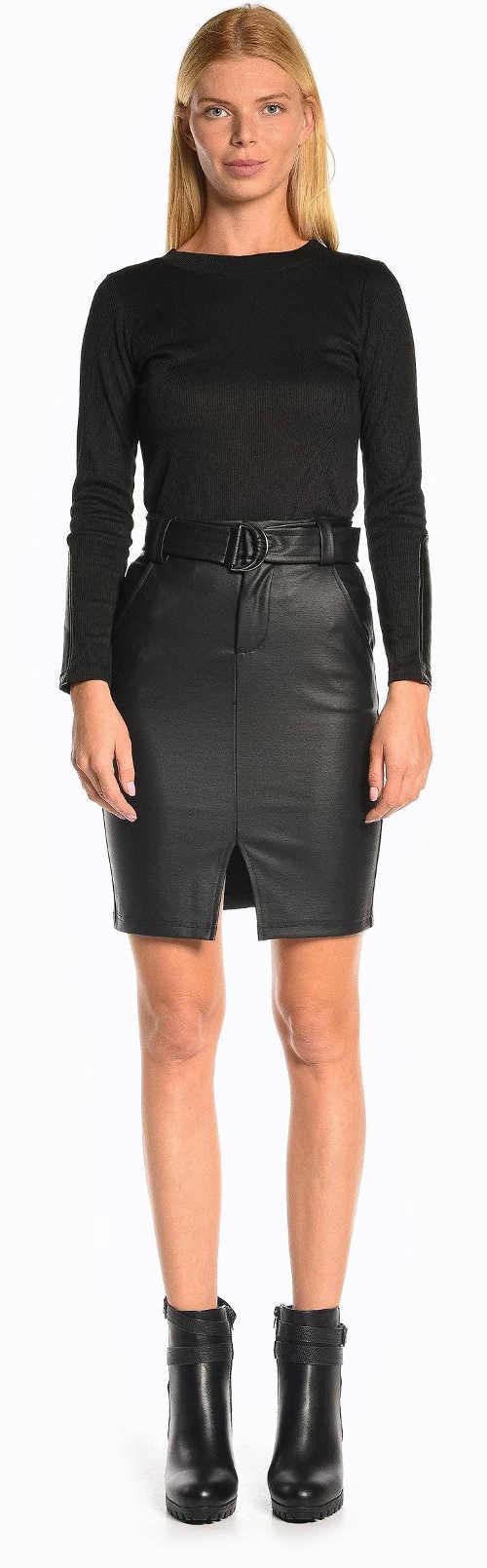 Krátká dámská sukně z umělé černé kůže