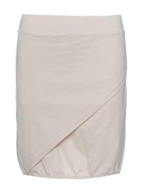Krátká zavinovací béžová sukně z bavlny