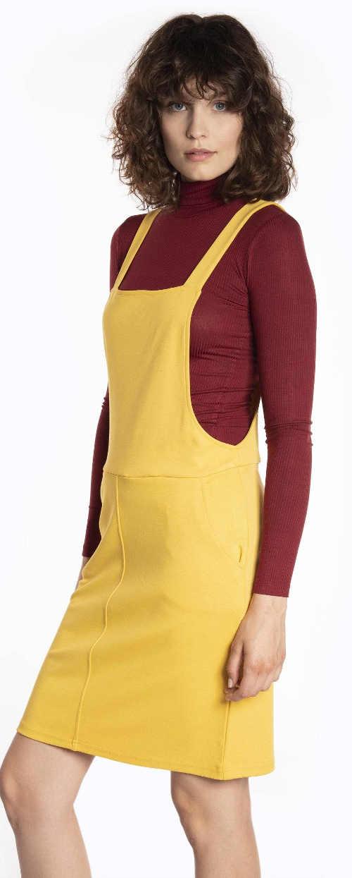 Krátké žluté laclové šaty