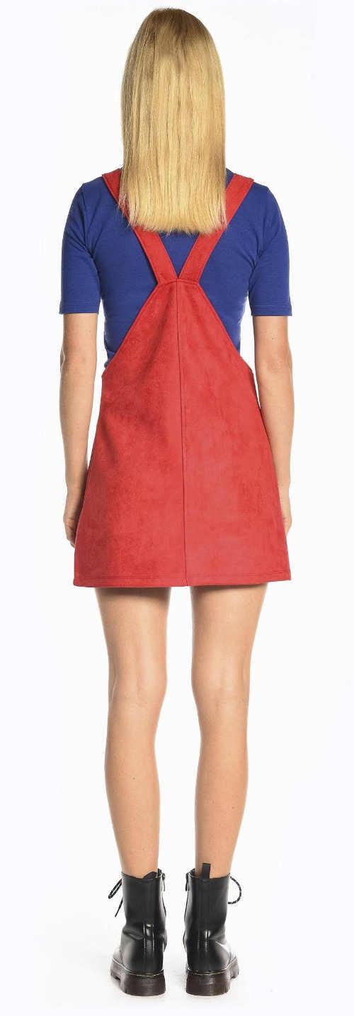 Laclová sukně se spojenými kšandami na zádech