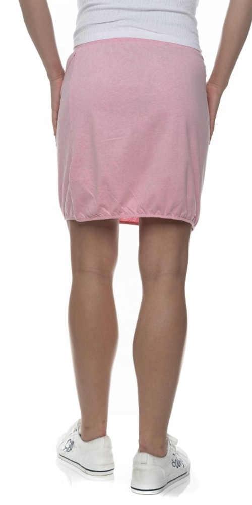 Růžová letní sukně se stahovací gumičkou ve spodním lemu
