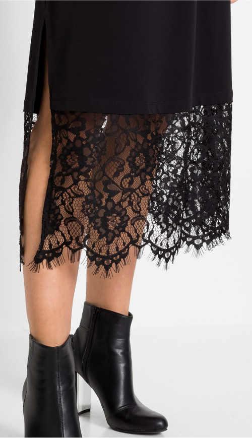 Široká černá průsvitná květinová krajka ve spodní části sukně