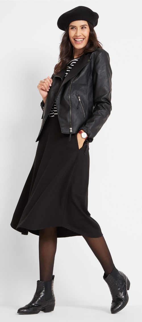 Vzdušná černá dámská podzimní sukně Bonprix