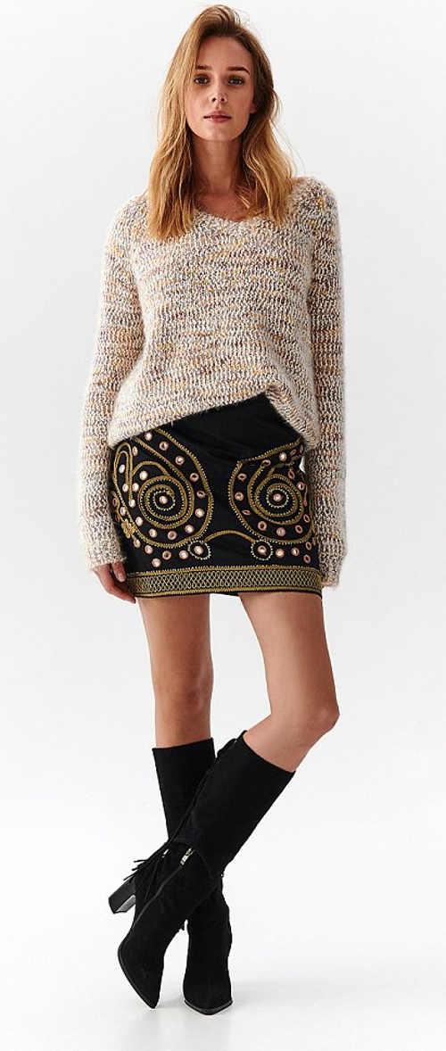 Černá dámská minisukně se zlatým prošívaným vzorem