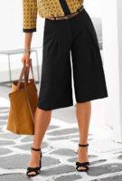 Černá kalhotová sukně s délkou ke kolenům