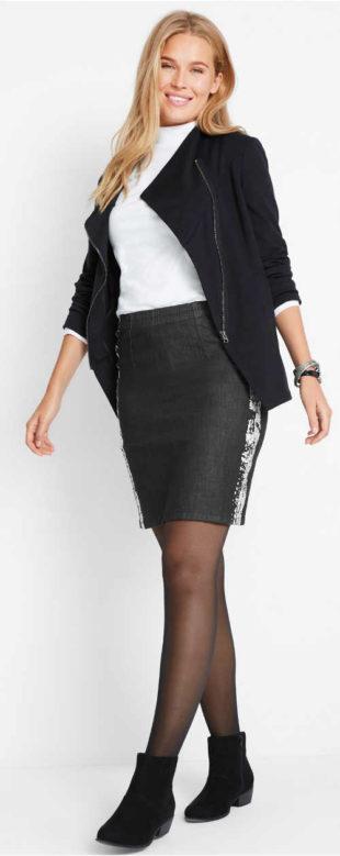 Černá strečová džínová sukně pro plnoštíhlé