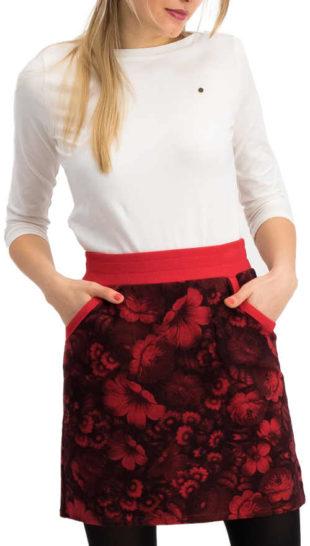 Červená tepláková sukně s květinovým potiskem