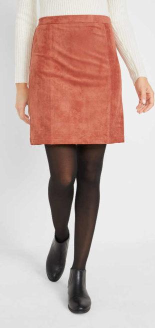 Dámská jednobarevná semišová sukně se zipem