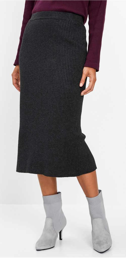 Dlouhá antracitová pletená sukně
