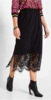 Dlouhá černá sukně s krajkovým spodním dílem