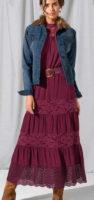 Dlouhá krajková sukně švestkové barvy