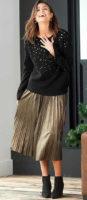 Dlouhá zlatá plisovaná dámská sukně