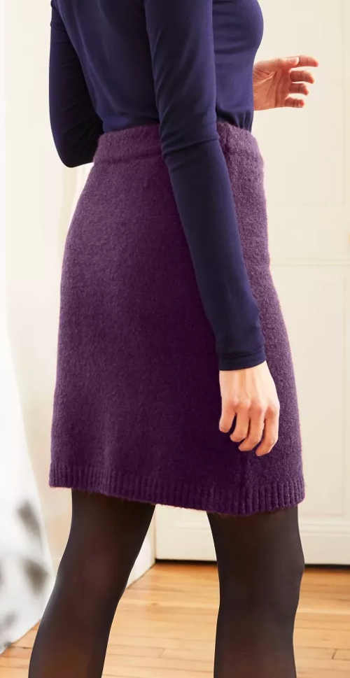 Fialová pletená dámská sukně