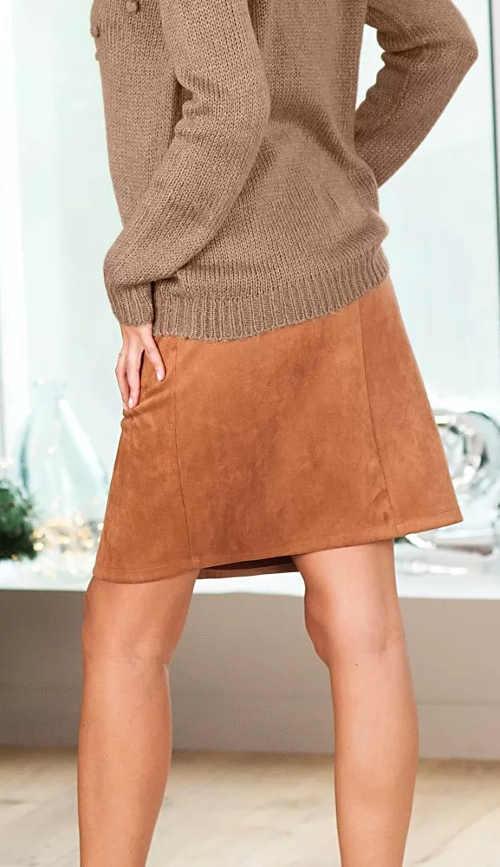 Hnědá semišová dámská sukně s délkou nad kolena