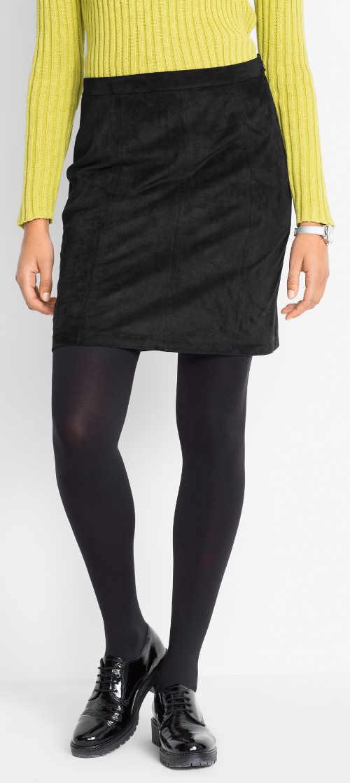 Jednobarevná černá krátká semišová sukně na zimu