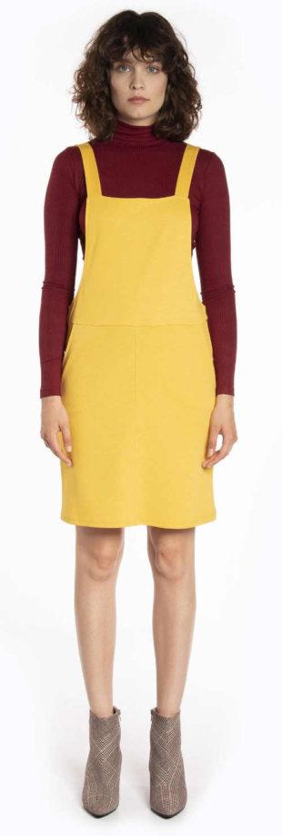 Jednobarevná dámská žlutá krátká sukně s laclem