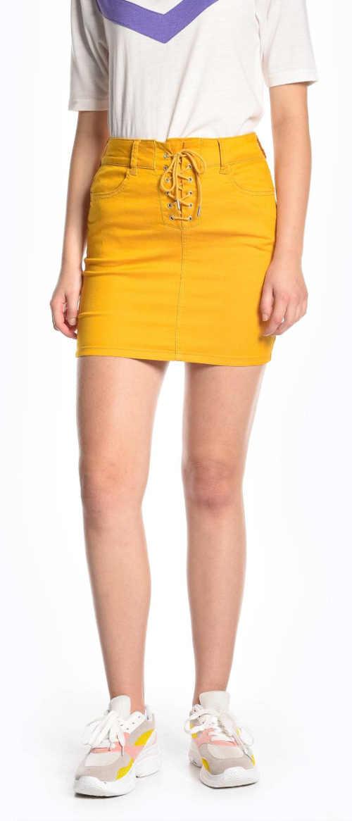 Krátká žlutá dámská sukně se šněrováním