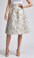Lesklá společenská áčková sukně s květinovou výšivkou