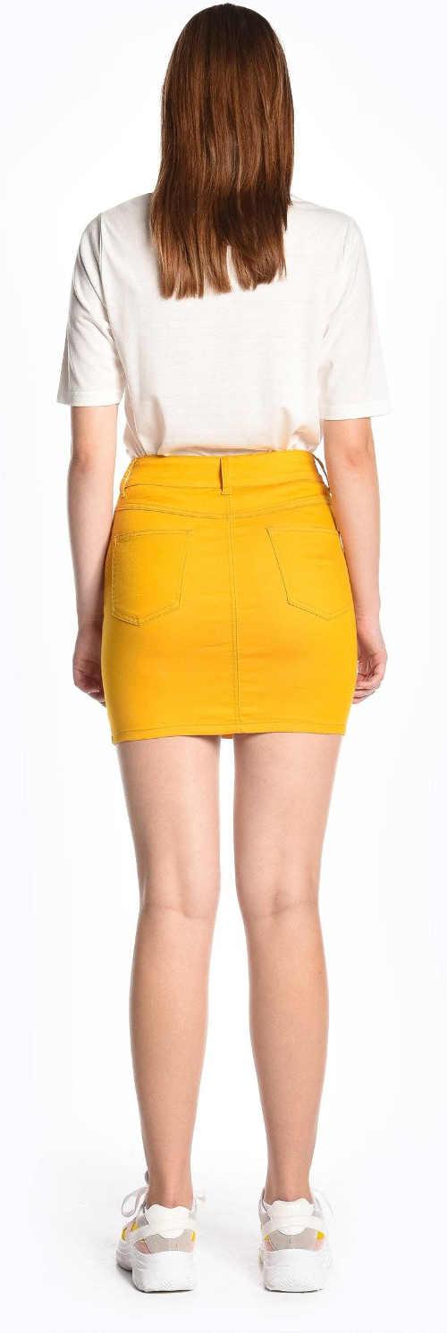 Letní žlutá minisukně sportovního střihu