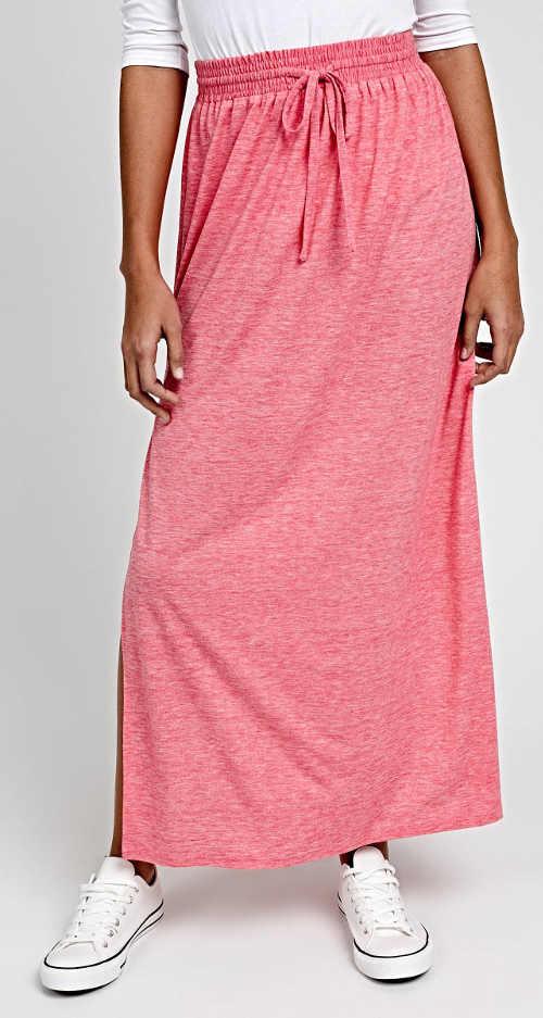 Levná dlouhá růžová maxi sukně s rozparky