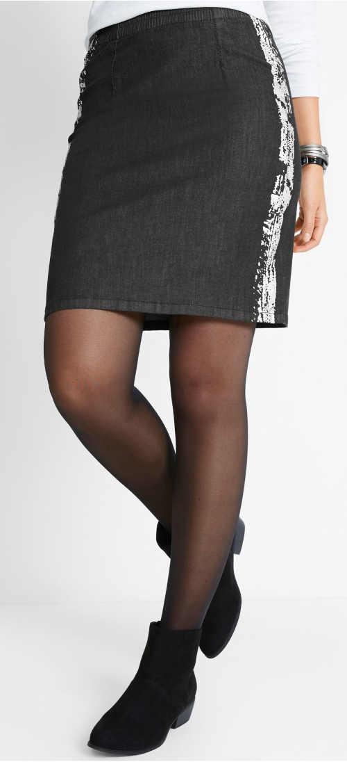 Moderní tmavá riflová sukně pro plnější tvary