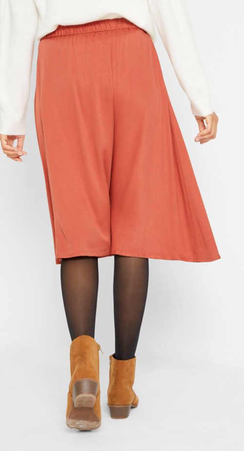 Oranžová dámská sukně ke kolenům