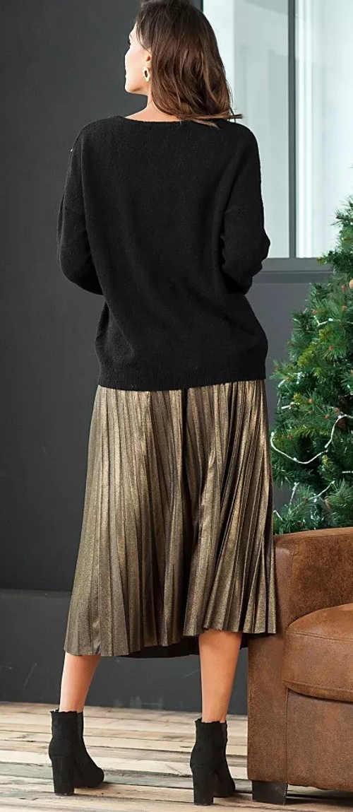 Plisovaná midi sukně koženého vzhledu