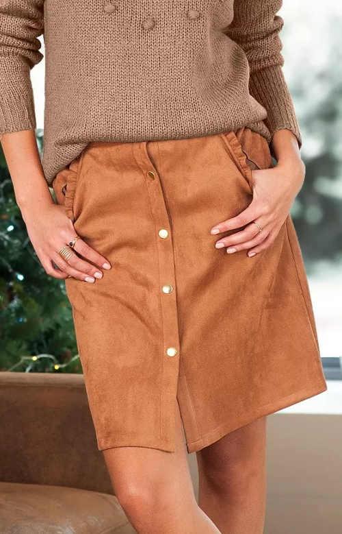 Semišová sukně se zapínáním na patentky vpředu