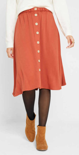 Široká propínací sukně s velkými knoflíky