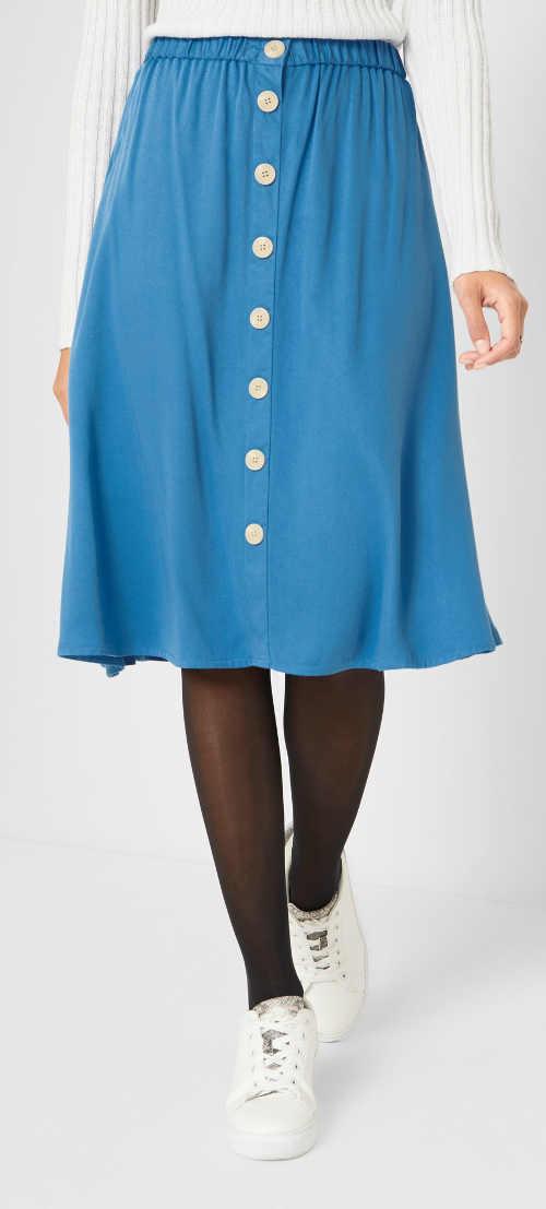 Světle modrá dámská sukně s knoflíky